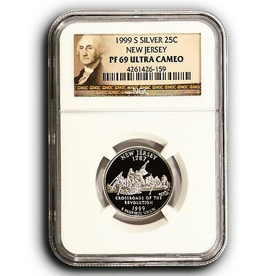 1999 S New Jersey NGC PF69 Ultra Cameo Proof Silver Quarter Coin