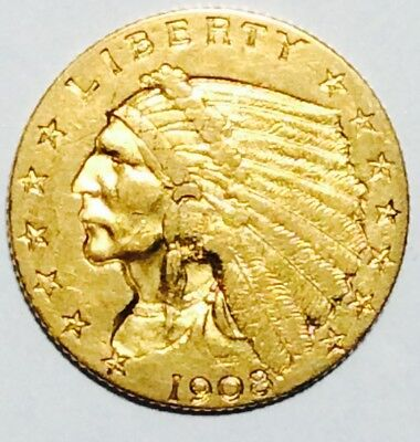 1908 $2.5 Indian Gold Coin - Nice XF Coin - No Reserve