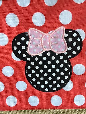 BNWT MSC Mainstreet Collection Red Dot Burlap Bag DISNEY Minnie Mouse Applique