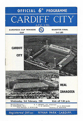 1964/65 European Cup Winners Cup - CARDIFF CITY v. REAL ZARAGOZA