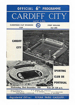 1964/65 European Cup Winners Cup - CARDIFF CITY v. SPORTING LISBON