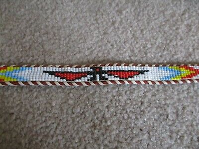 Vintage Native American Genuine Cowhide Hand Beaded Belt W/ Thunderbird