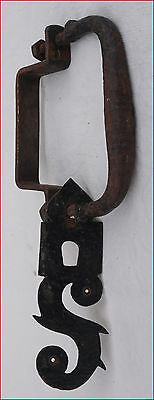 Antique French Wrought Iron Door Handle Hand Forged Ornate 16th C