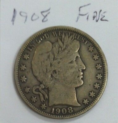 1908 Barber Half Dollar Better Date Fine
