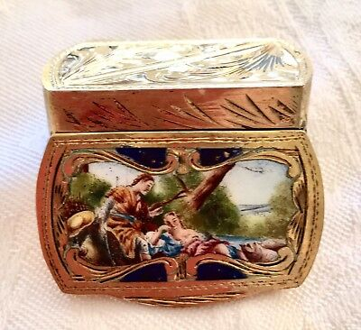 VINTAGE PILL BOX ENAMEL ENGRAVED .800 VERMEIL SILVER Lovers lounging by river