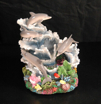 "Ocean Life Statue Sea Creatures Dolphins Fish Plants Waves 7"" Tall 4""x5"" Base"