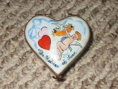 Peint Main Limoges Heart Shaped Trinket Box Hearts And Cherub The Holder Of Love