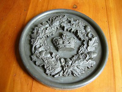 An Old Metal Wall Plaque - A Queen's Crown Surrounded By Oakleaves & Acorns.