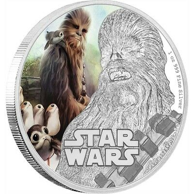 2017 Star Wars The Last Jedi - Chewbacca - 1 Oz. Silver Coin - Ogp Coa
