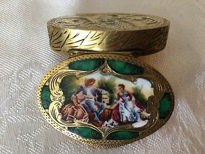 VINTAGE PILL BOX ENAMEL ENGRAVED .800 VERMEIL SILVER 3 people & dog in nature