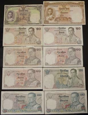1950's-1980's THAILAND, 5-10-20 BAHT, LOT OF 10 DIFFERENT NOTES