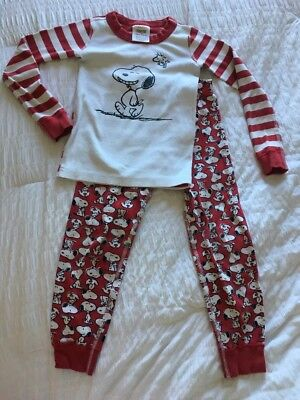 HANNA ANDERSSON Snoopy Peanuts Size 110 (5t)  2pc Pajamas Red Stripes Christmas!