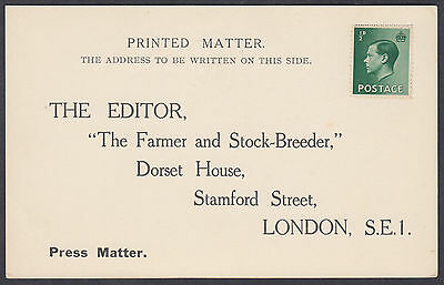 Appears unposted Postcard; The Editor, The Farmer and Stock-Breeder