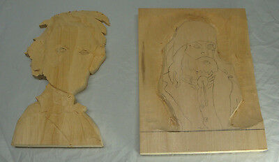 Lot Of 2 Wood Carving Blanks Abraham Lincoln Mountain Man Started Not Finished