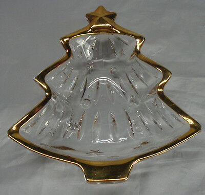 Christmas Tree Candy Dish Glass With Gold Rim