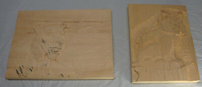 Lot Of 2 Wood Carving Blanks Lion & Bob Cat Started Not Finished