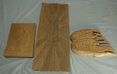 Wood Carving Blanks 3 Horse Leaf Abstract Started Not Finished