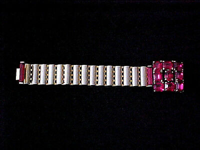 "Vtg. Art Deco Bracelet Signed  ""eisenberg""  Lg. Pink Crystals Gold Tone Finish"