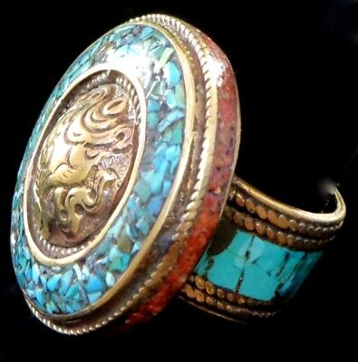 THAI ETHNIC Brass Turquoise Coral Inlay Circle Ring Size 7.5