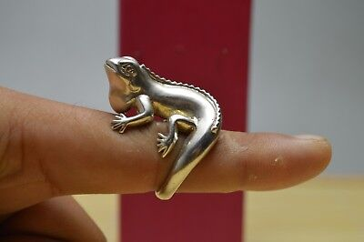 13 gram Purity S925 Sterling Solid Silver Hand Made Lizard Ring USA Size 8