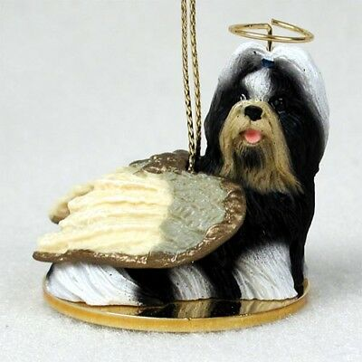 Shih Tzu Black White Dog ANGEL Tiny One Ornament Figurine Statue