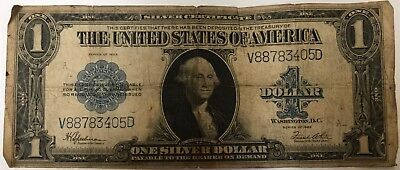 HORSE BLANKET $1 One Dollar Bill Silver Certificate 1923 Currency Note. Creased