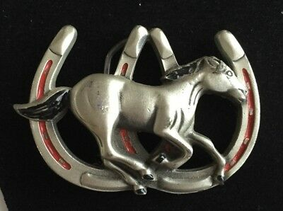 Vintage Great American Products 1992 Belt Buckle Horse Running horseshoe Shoe