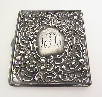 Antique 1895 VICTORIAN Sterling Silver STAMP BOX CASE Repousse Vesta Safe Holder
