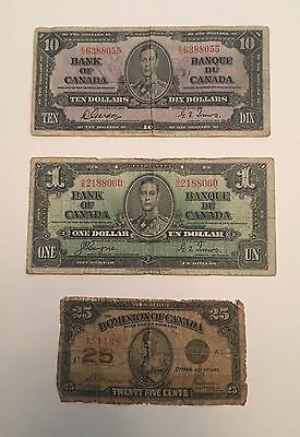 3 Note Lot OLD Canadian Currency $10, $1, 25c. Circulated Bills! 1937, 1923