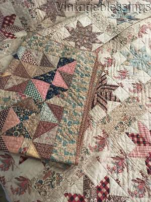 1842 Quilt Collection Antique CRIB   Chintz Stars Full QUILT   RARE Pillow Cover
