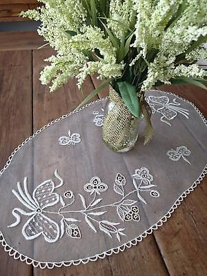 Antique Victorian Embroidered French Net Lace DOILY Dragonflies Bows 27x16