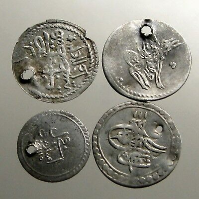 4 UNIDENTIFIED ISLAMIC SILVER COINS___Medieval___GOLDEN AGE