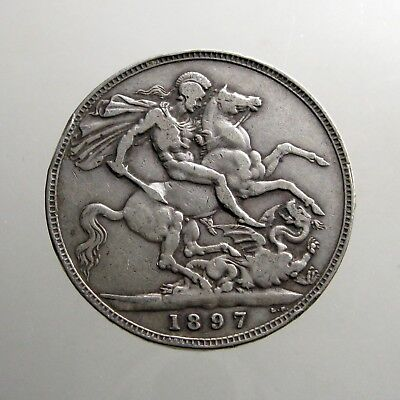 LARGE 1897 QUEEN VICTORIA SILVER CROWN__Great Britain___ST GEORGE SLAYING DRAGON