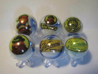 VERNORS GINGER ALE SODA POP GLASS MARBLES 5/8 SIZE COLLECTION LOT with STANDS