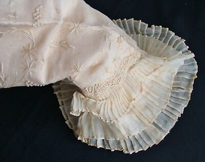 Antique Pink Silk Lined Embroidered Sheer Cotton & Lace Pleated Sleeve