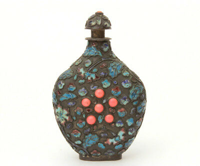 Antique Chinese Snuff Bottle Enamel Leaves Coral Stones, China Enameled Leaves