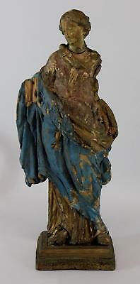 17thC Antique Ancient Classical Italian/German Carved Painted Wood Figure Statue