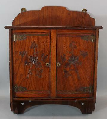 Small Antique Aesthetic Period Hand Carved Walnut 2-Door Wall Cabinet NR