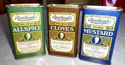 3 Vintage Rawleighs Spice Tins Nearly Full with Contents Old Advertising