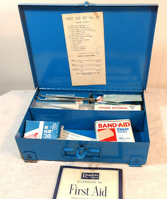 Vintage First Aid Kit Blue Metal Box Industrial #25 Acme Cotton Medical Supplies