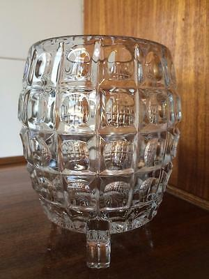 Large Vintage Art Deco Heavy Footed Pressed Glass Vase Exceptional Quality