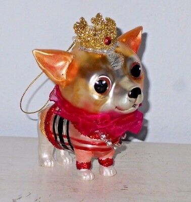 Chihuahua Puppy Dog Glass Christmas Tree Ornament Ruffled Collar Crown 4.5""