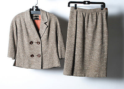 City Paris 1958-1962's Brown Tweed Double Breasted Button Skirt Suit