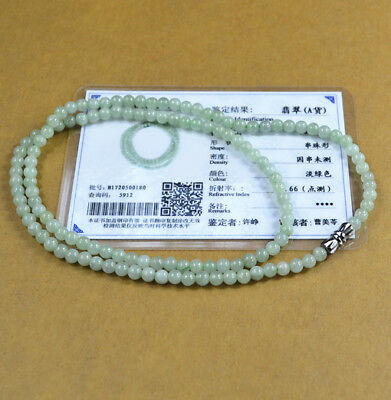 2017 new light green 100% Natural A JADE JADEITE Bead Beads Necklace C0101