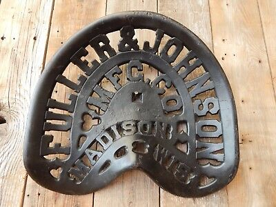 Old Vintage Cast Iron Fuller & Johnson Farm Implement / Tractor Seat Advertising