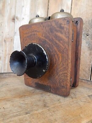 Antique Wooden Dean Electric Co. Wall Telephone Ringer Box ~ Vintage Phone Part