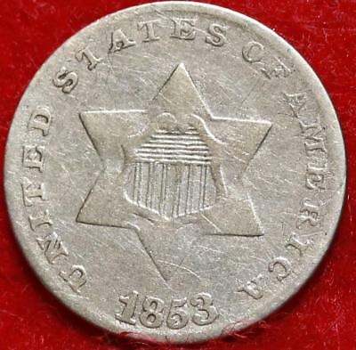 1853 Philadelphia Mint Silver Three Cent Coin Free Shipping