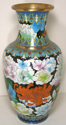 Large Early 20Th Century Chinese Cloisonne Vase Flowers
