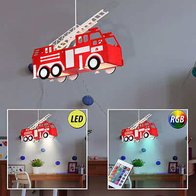 LED Children Fire Brigade Ceilings PENDULUM LIGHT DIMMABLE Car Hanging RGB Lamp
