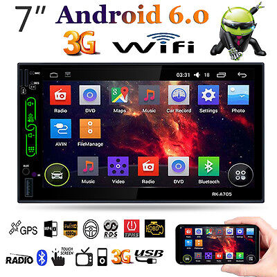 "Quad Core Android 6.0 3G WiFi 7"" 2 DIN Car BT Stereo Radio GPS Nav MP5 Player FM"